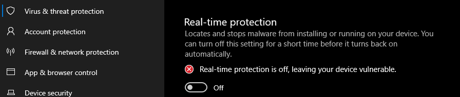 Real time threat protection