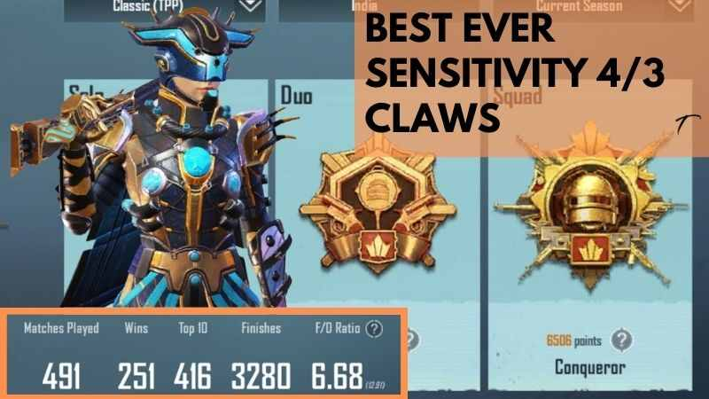 BGMI Best Sensitivity Settings used by conqueror players 4/3 Claws.